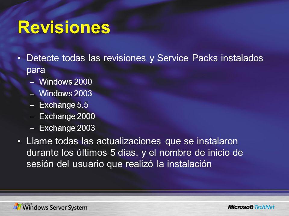 RevisionesDetecte todas las revisiones y Service Packs instalados para. Windows 2000. Windows 2003.