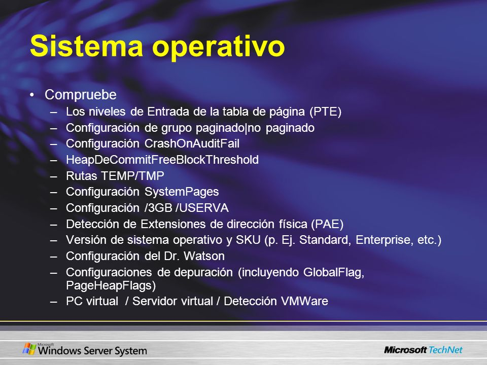 Sistema operativo Compruebe