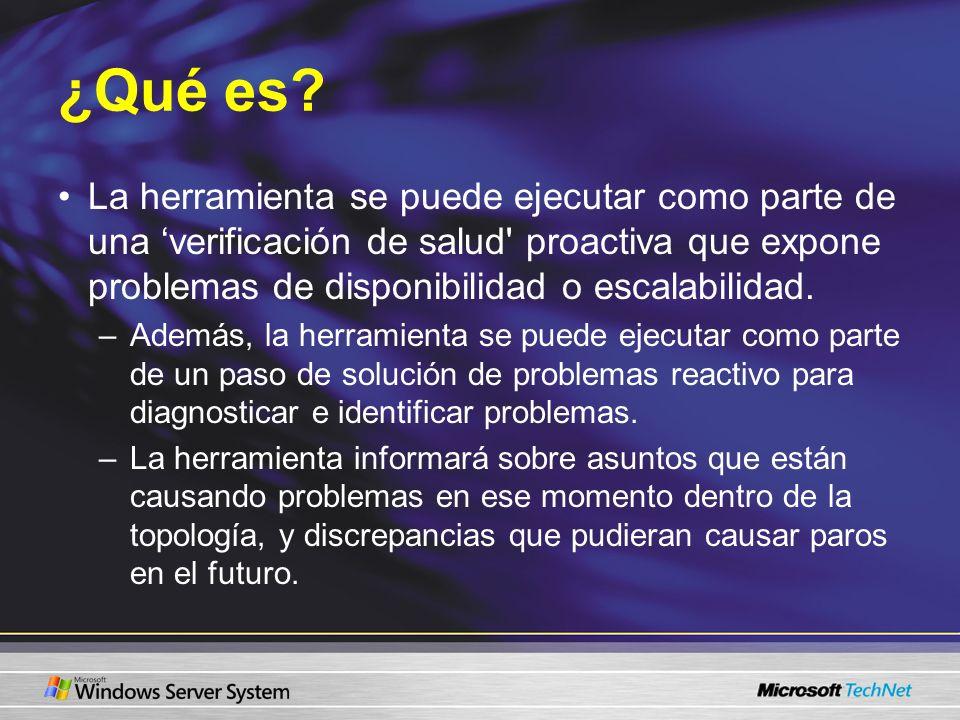 ¿Qué es La herramienta se puede ejecutar como parte de una 'verificación de salud proactiva que expone problemas de disponibilidad o escalabilidad.