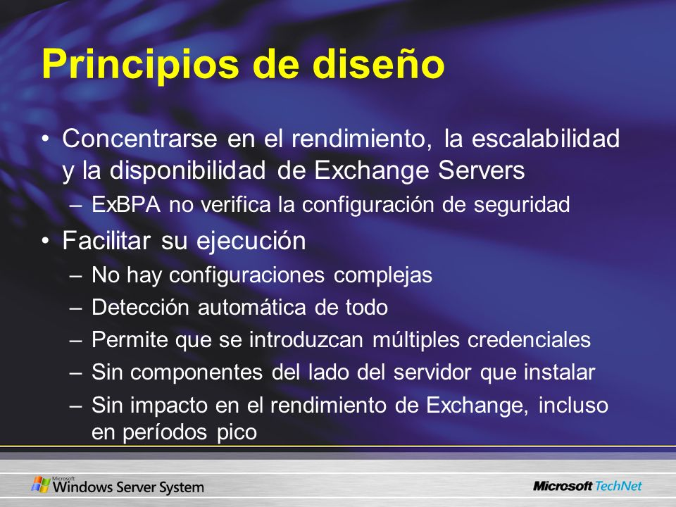Principios de diseño Concentrarse en el rendimiento, la escalabilidad y la disponibilidad de Exchange Servers.