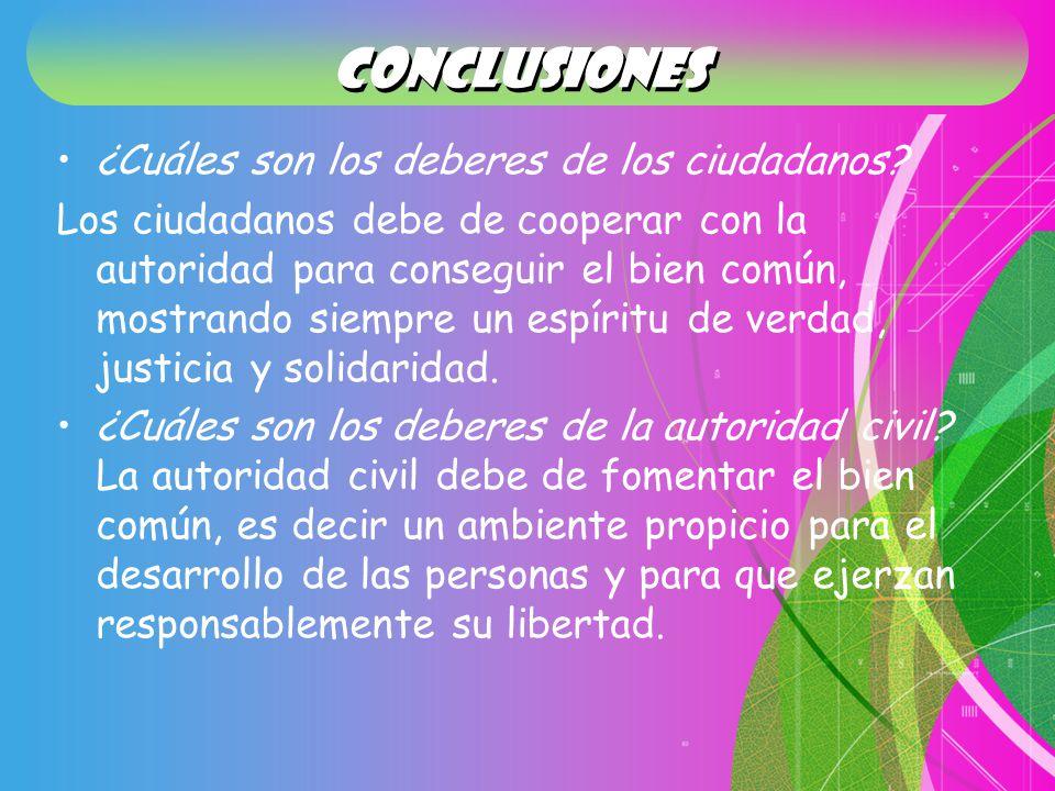 conclusiones ¿Cuáles son los deberes de los ciudadanos