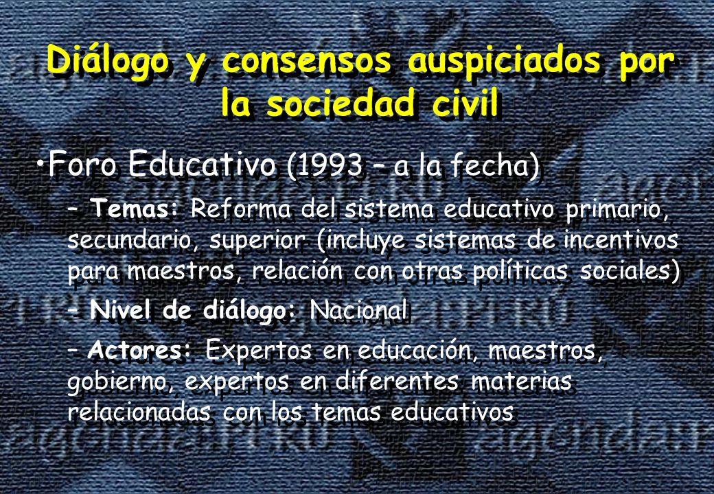 Diálogo y consensos auspiciados por la sociedad civil