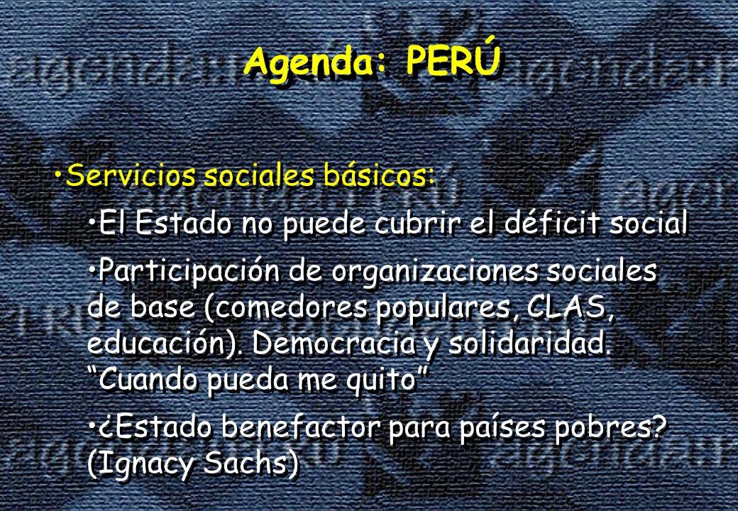 Agenda: PERÚ Servicios sociales básicos: