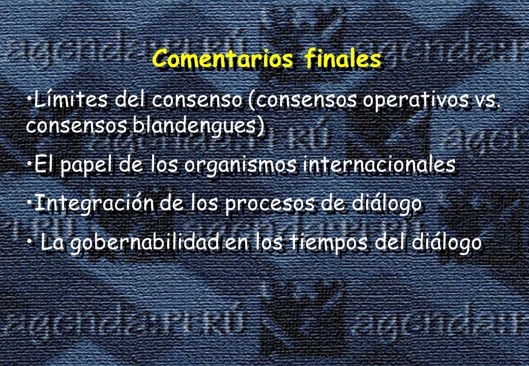 Comentarios finales Límites del consenso (consensos operativos vs. consensos blandengues) El papel de los organismos internacionales.