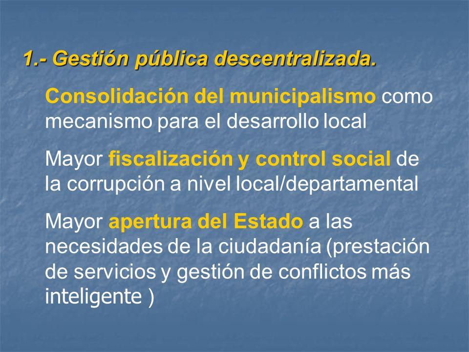 1.- Gestión pública descentralizada.