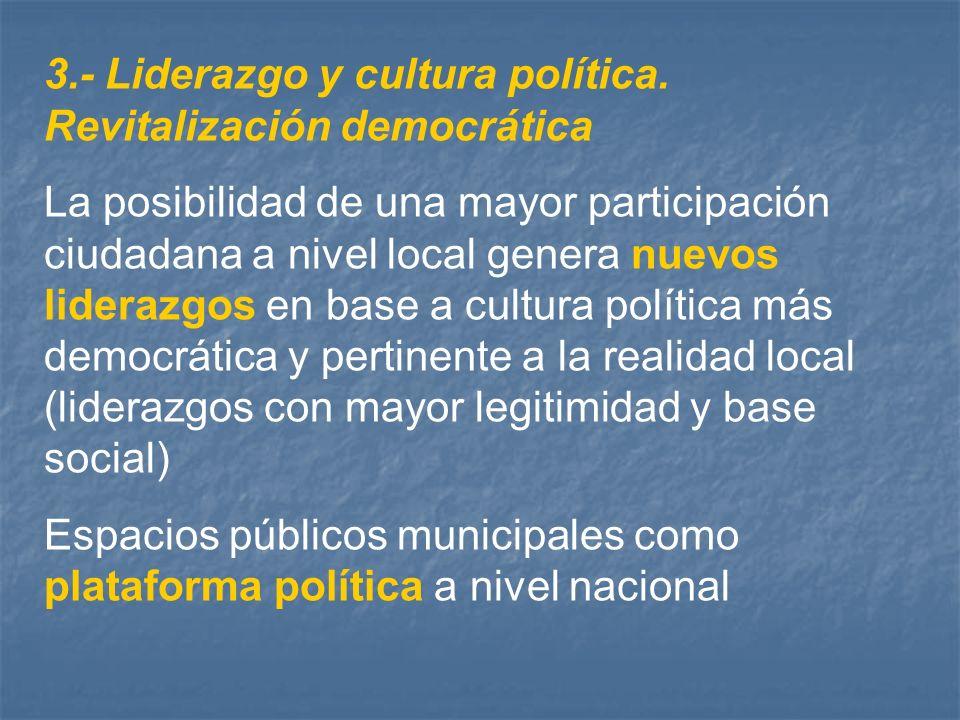 3.- Liderazgo y cultura política. Revitalización democrática