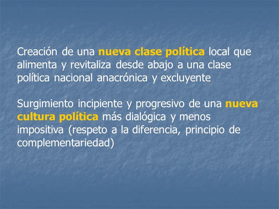 Creación de una nueva clase política local que alimenta y revitaliza desde abajo a una clase política nacional anacrónica y excluyente
