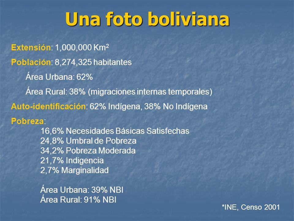 Una foto boliviana Extensión: 1,000,000 Km2