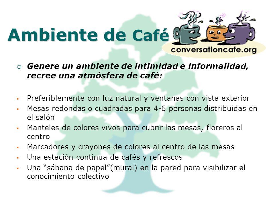 Ambiente de CaféGenere un ambiente de intimidad e informalidad, recree una atmósfera de café: