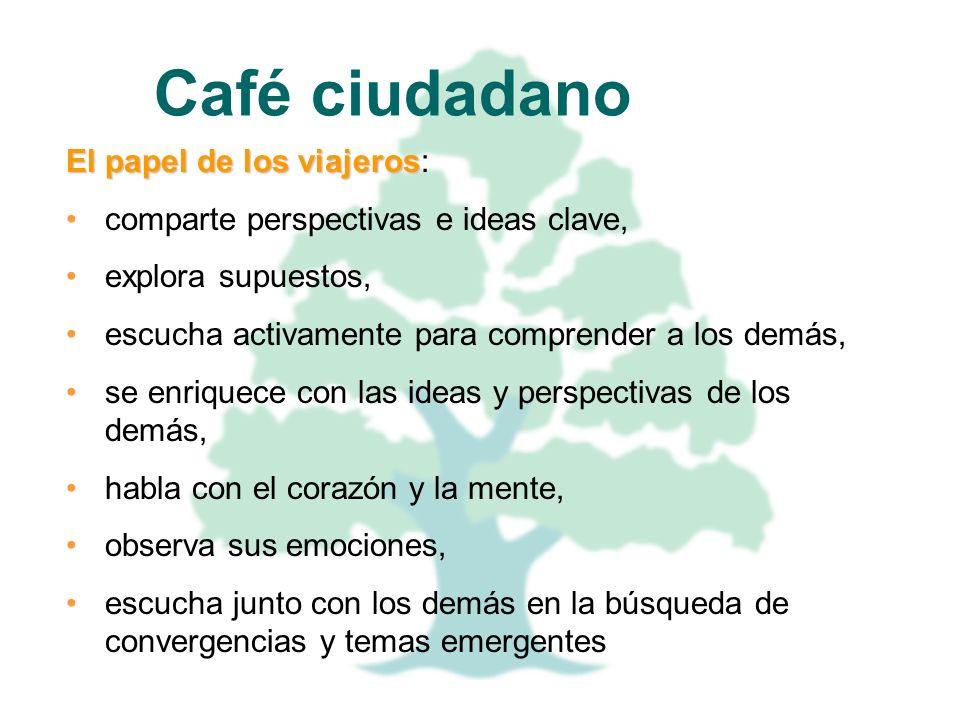 Café ciudadano El papel de los viajeros: