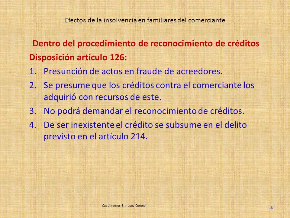 Efectos de la insolvencia en familiares del comerciante