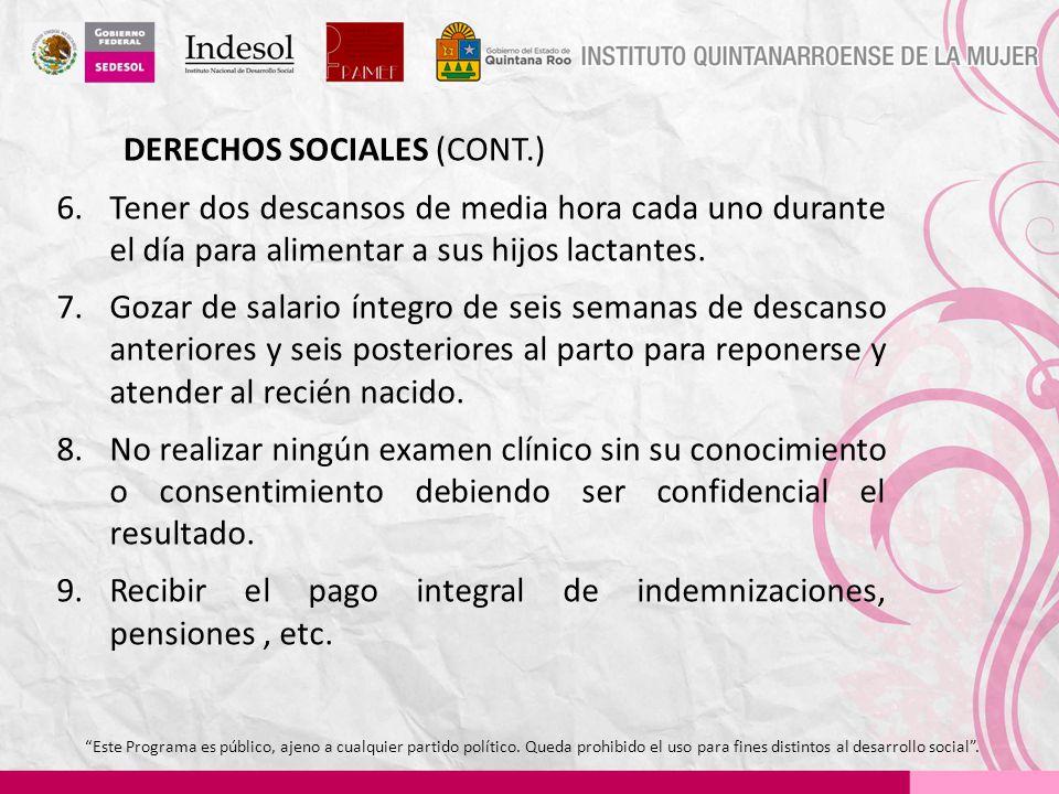 DERECHOS SOCIALES (CONT.)
