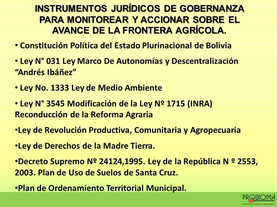 INSTRUMENTOS JURÍDICOS DE GOBERNANZA PARA MONITOREAR Y ACCIONAR SOBRE EL AVANCE DE LA FRONTERA AGRÍCOLA.