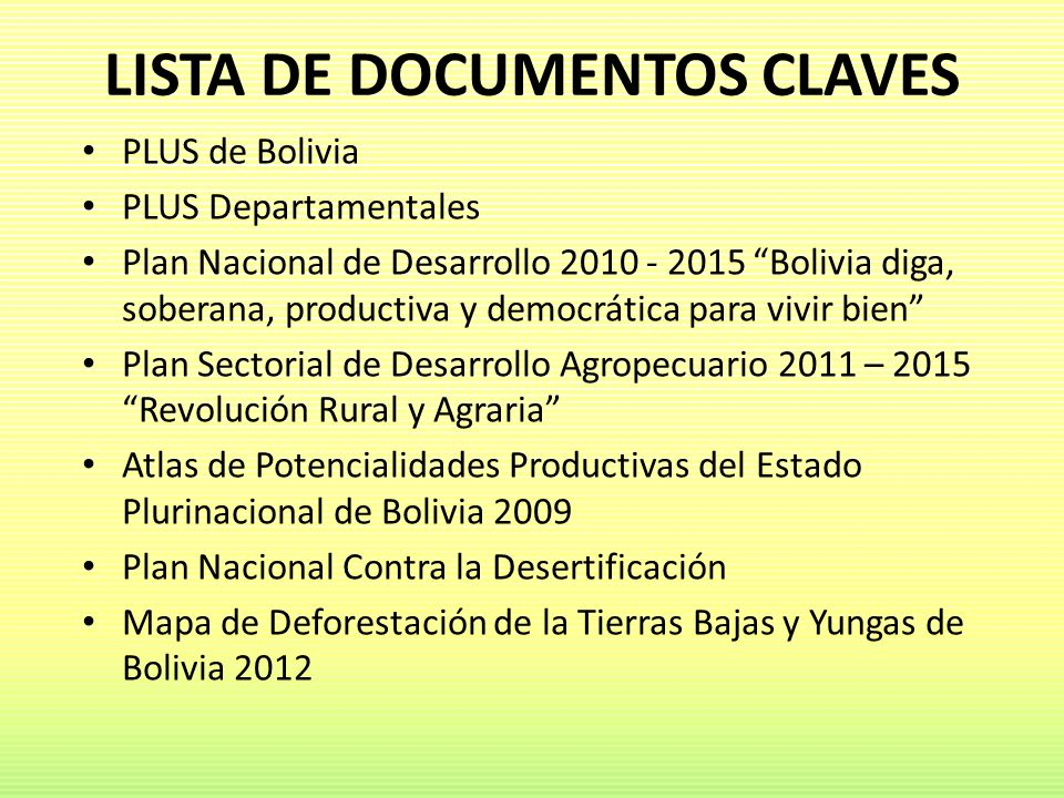 LISTA DE DOCUMENTOS CLAVES