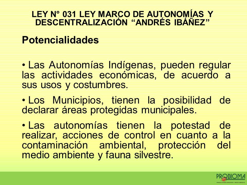 LEY N° 031 LEY MARCO DE AUTONOMÍAS Y DESCENTRALIZACIÓN ANDRÉS IBÁÑEZ
