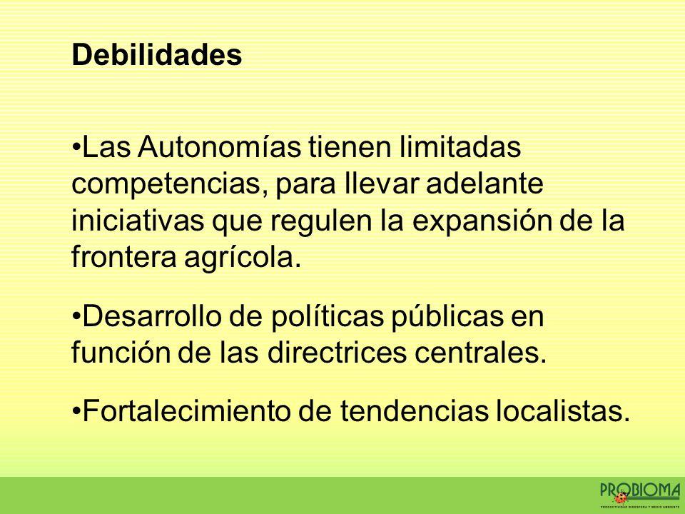 Debilidades Las Autonomías tienen limitadas competencias, para llevar adelante iniciativas que regulen la expansión de la frontera agrícola.