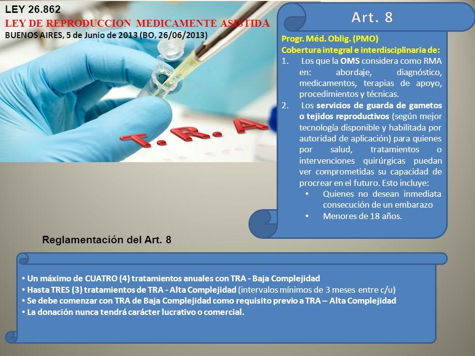 T. R. A Art. 8 LEY 26.862 LEY DE REPRODUCCION MEDICAMENTE ASISTIDA