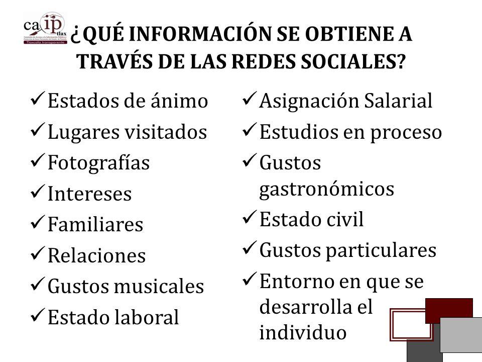 ¿QUÉ INFORMACIÓN SE OBTIENE A TRAVÉS DE LAS REDES SOCIALES