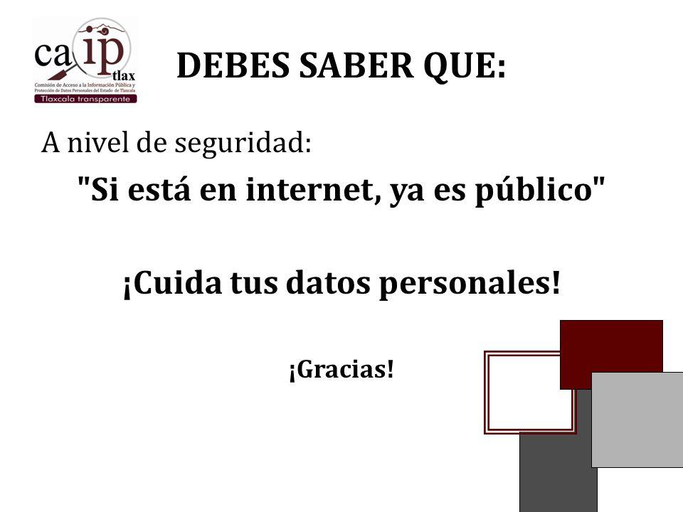 Si está en internet, ya es público ¡Cuida tus datos personales!