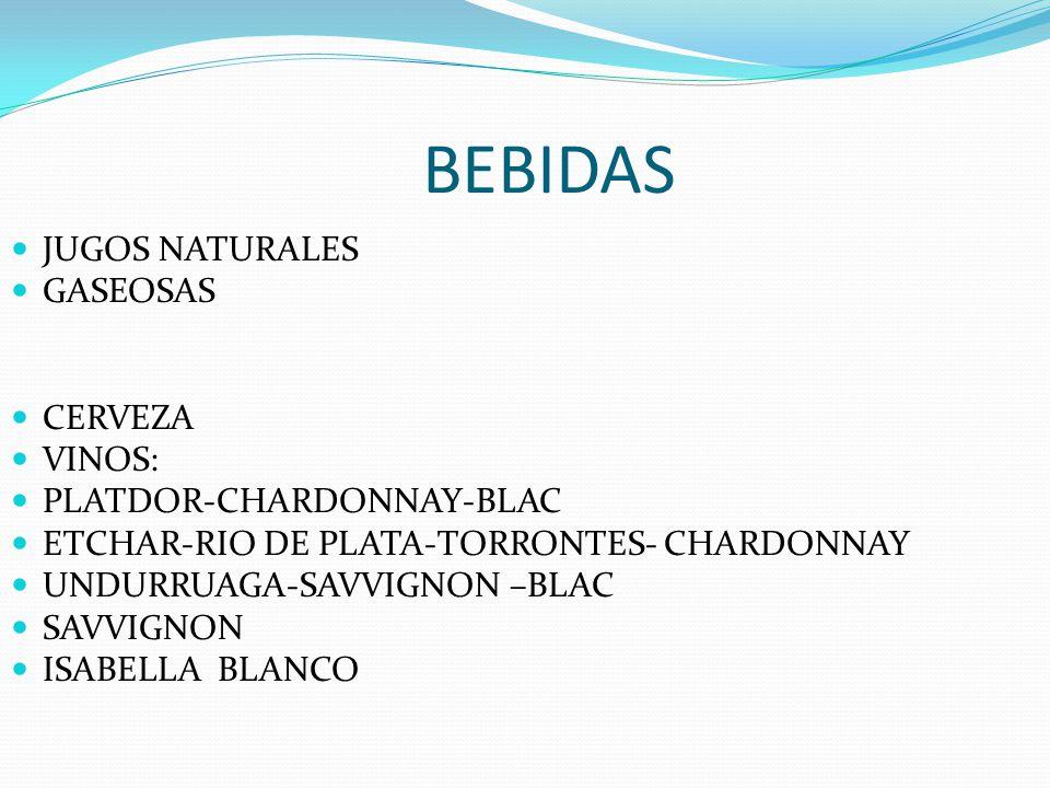 BEBIDAS JUGOS NATURALES GASEOSAS CERVEZA VINOS:
