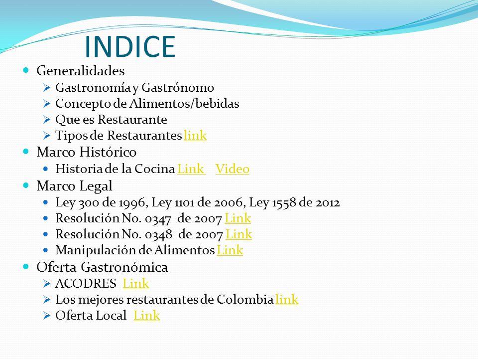 INDICE Generalidades Marco Histórico Marco Legal Oferta Gastronómica
