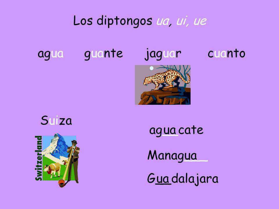 Los diptongos ua, ui, ue agua guante jaguar cuanto Suiza ag__cate ua Manag___ ua G__dalajara ua