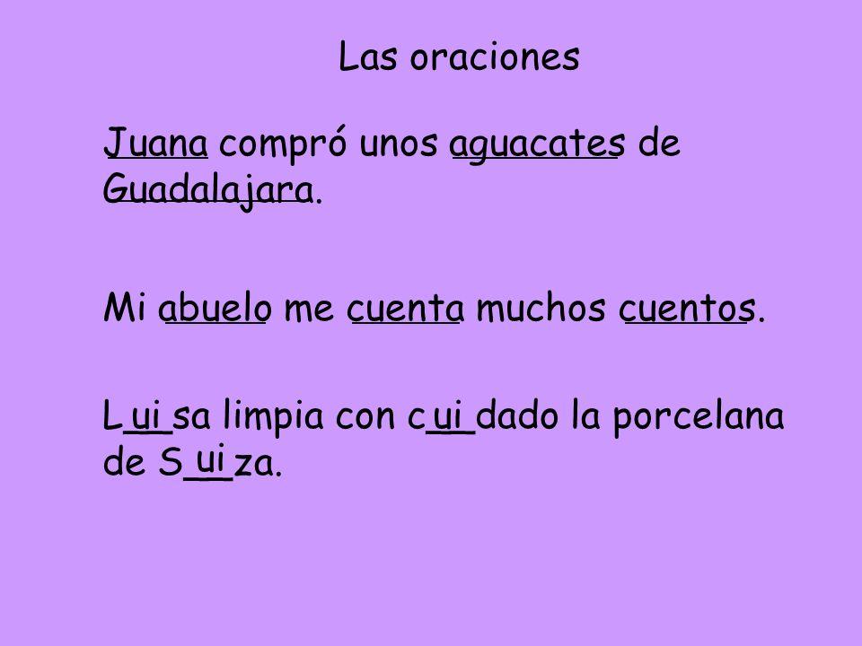 Las oraciones Juana compró unos aguacates de Guadalajara. Mi abuelo me cuenta muchos cuentos. L__sa limpia con c__dado la porcelana de S__za.