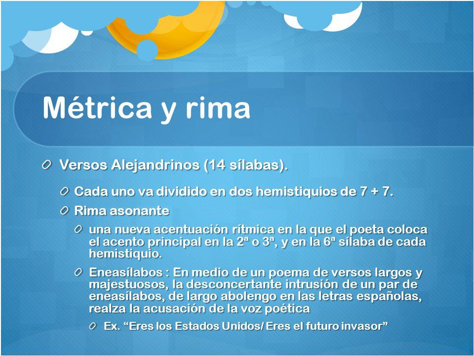 Métrica y rima Versos Alejandrinos (14 sílabas).