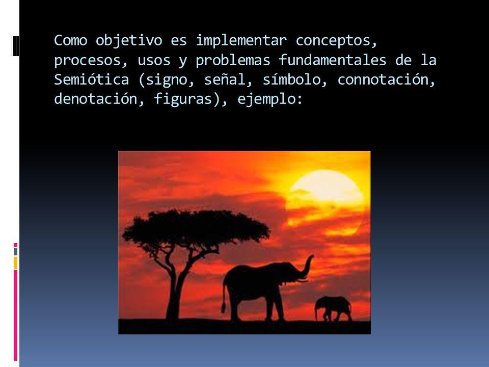 Como objetivo es implementar conceptos, procesos, usos y problemas fundamentales de la Semiótica (signo, señal, símbolo, connotación, denotación, figuras), ejemplo: