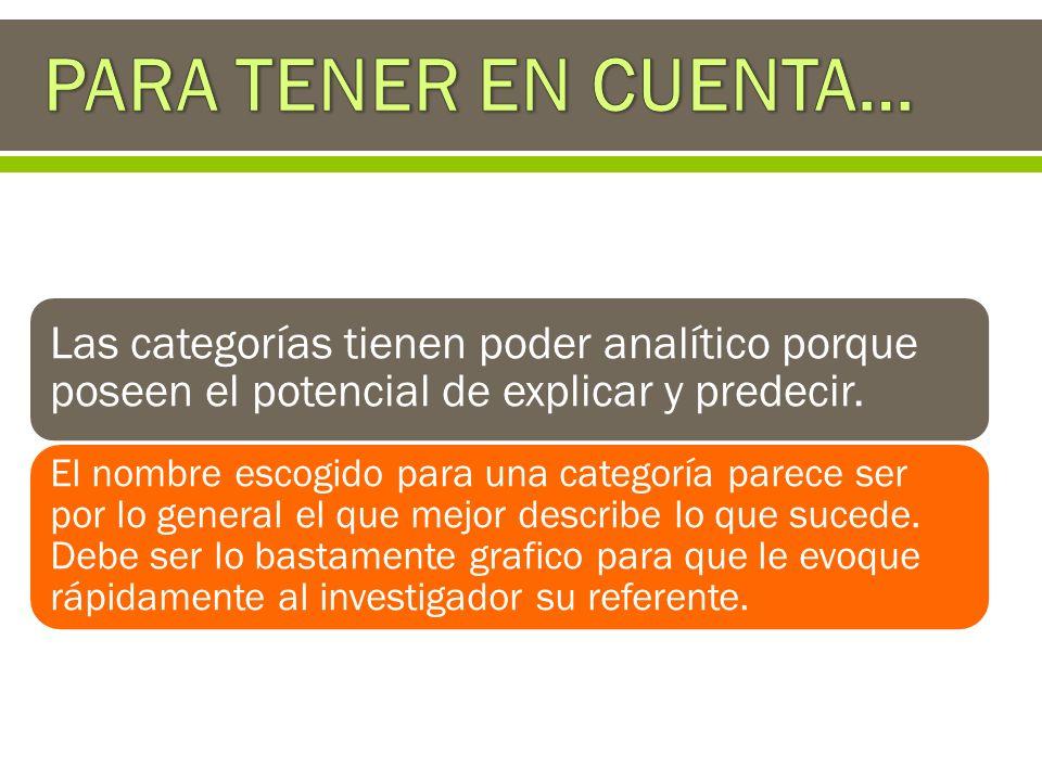 PARA TENER EN CUENTA… Las categorías tienen poder analítico porque poseen el potencial de explicar y predecir.
