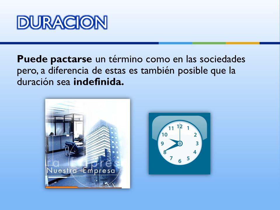 DURACION Puede pactarse un término como en las sociedades pero, a diferencia de estas es también posible que la duración sea indefinida.