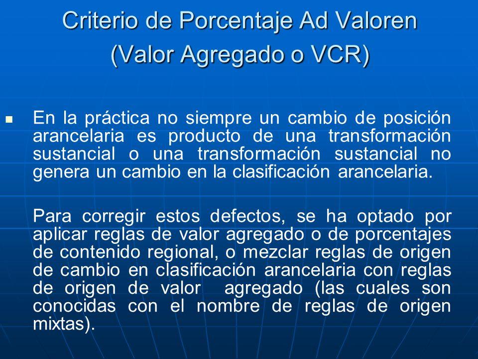 Criterio de Porcentaje Ad Valoren (Valor Agregado o VCR)