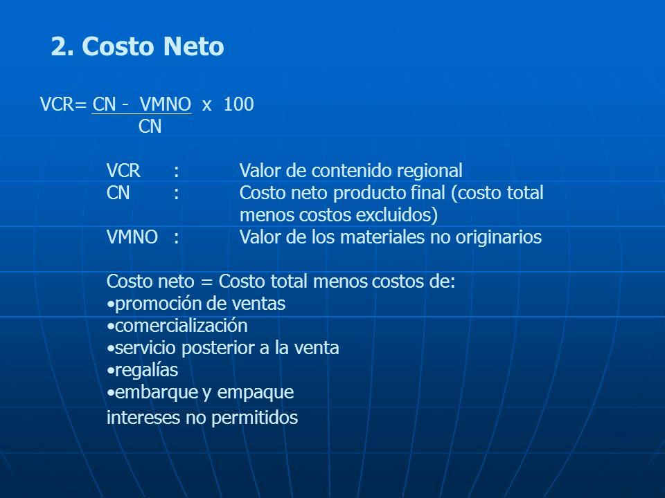 2. Costo Neto VCR= CN - VMNO x 100 CN