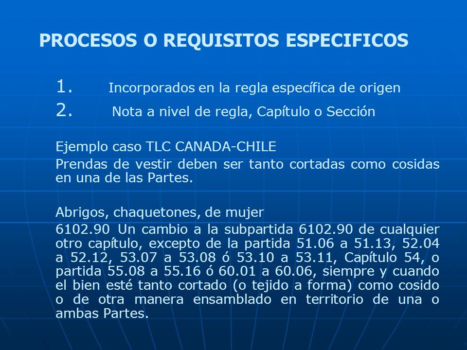PROCESOS O REQUISITOS ESPECIFICOS