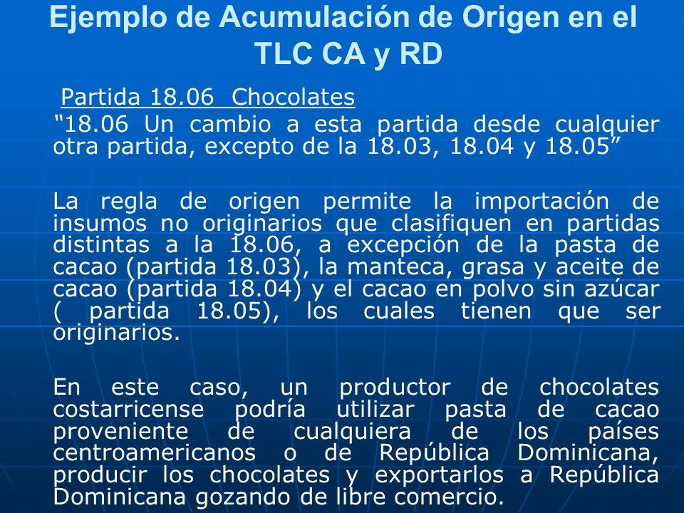 Ejemplo de Acumulación de Origen en el TLC CA y RD