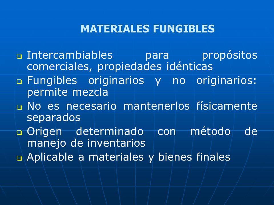 MATERIALES FUNGIBLES Intercambiables para propósitos comerciales, propiedades idénticas. Fungibles originarios y no originarios: permite mezcla.