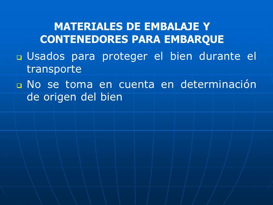 MATERIALES DE EMBALAJE Y CONTENEDORES PARA EMBARQUE
