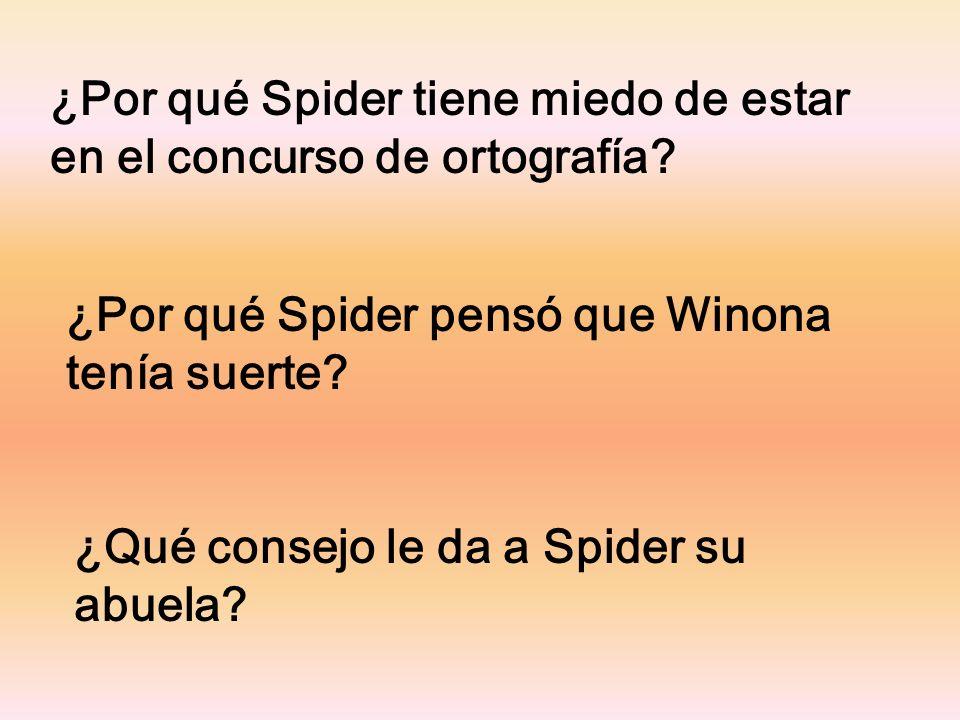 ¿Por qué Spider tiene miedo de estar en el concurso de ortografía