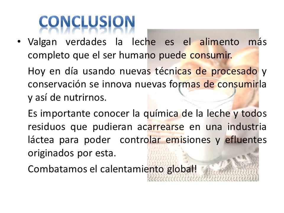 Conclusion Valgan verdades la leche es el alimento más completo que el ser humano puede consumir.