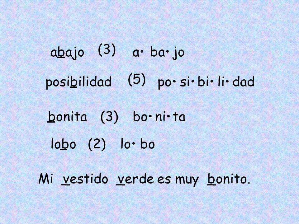 (3)abajo. a• ba• jo. (5) posibilidad. po• si• bi• li• dad. bonita. (3) bo• ni• ta. lobo. (2) lo• bo.