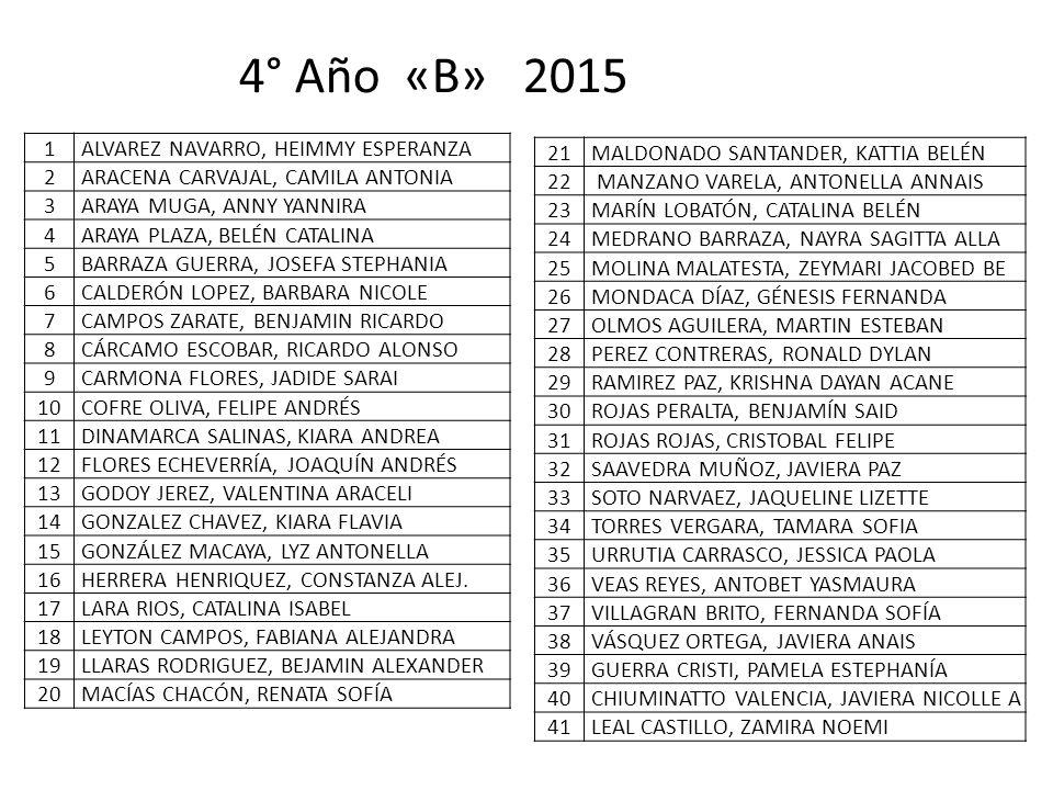 4° Año «B» 2015 1 ALVAREZ NAVARRO, HEIMMY ESPERANZA 2