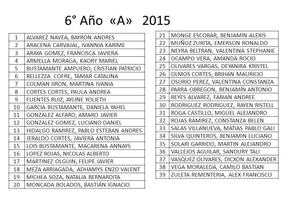 6° Año «A» 2015 21 MONGE ESCOBAR, BENJAMIN ALEXIS 22