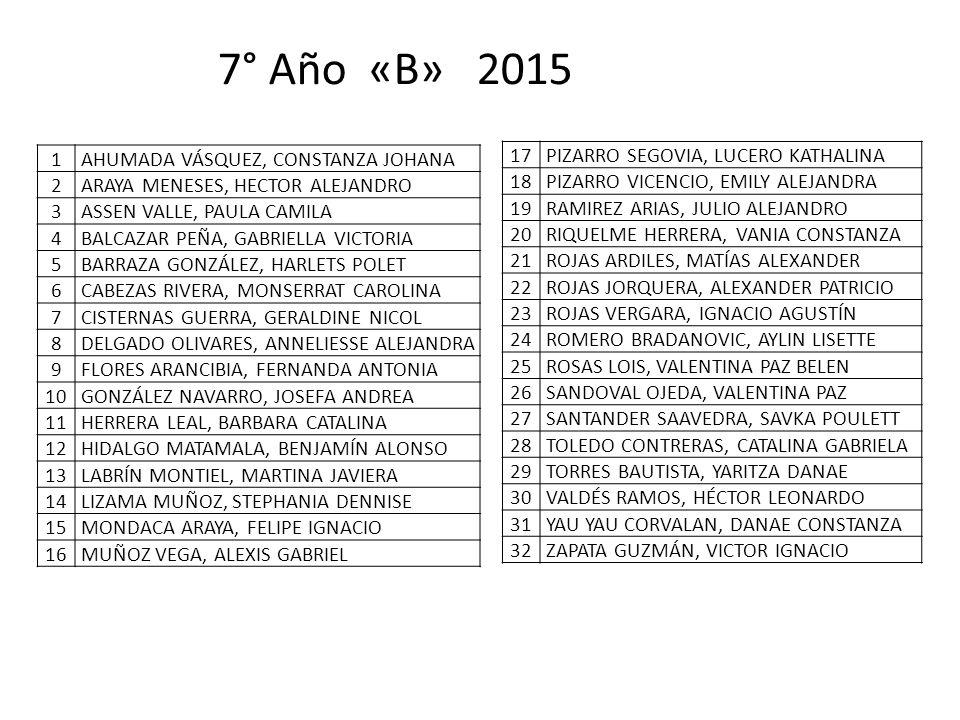 7° Año «B» 2015 1 AHUMADA VÁSQUEZ, CONSTANZA JOHANA 2