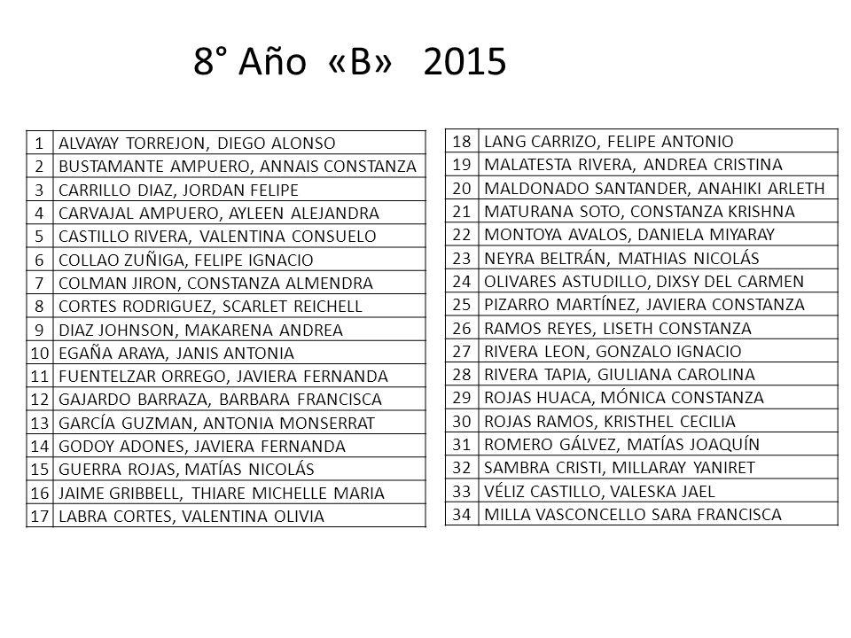 8° Año «B» 2015 1 ALVAYAY TORREJON, DIEGO ALONSO 2