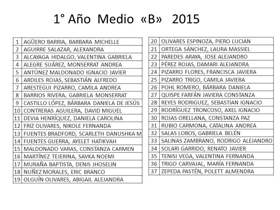 1° Año Medio «B» 2015 1 AGÜERO BARRIA, BARBARA MICHELLE 2