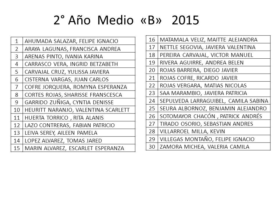 2° Año Medio «B» 2015 MATAMALA VELIZ, MAITTE ALEJANDRA