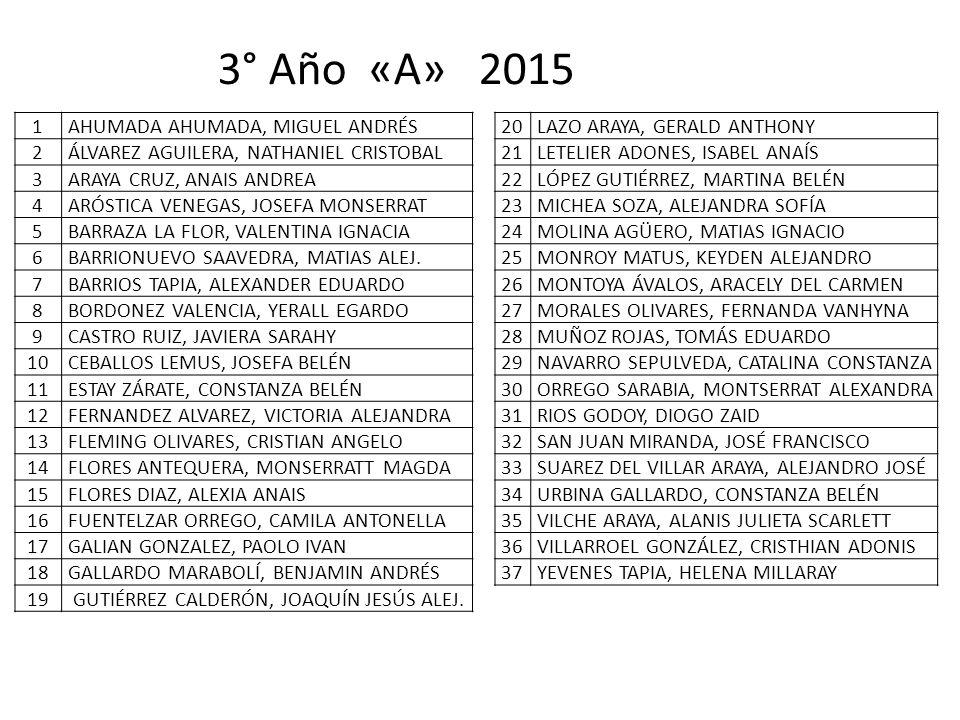 3° Año «A» 2015 1 AHUMADA AHUMADA, MIGUEL ANDRÉS 2
