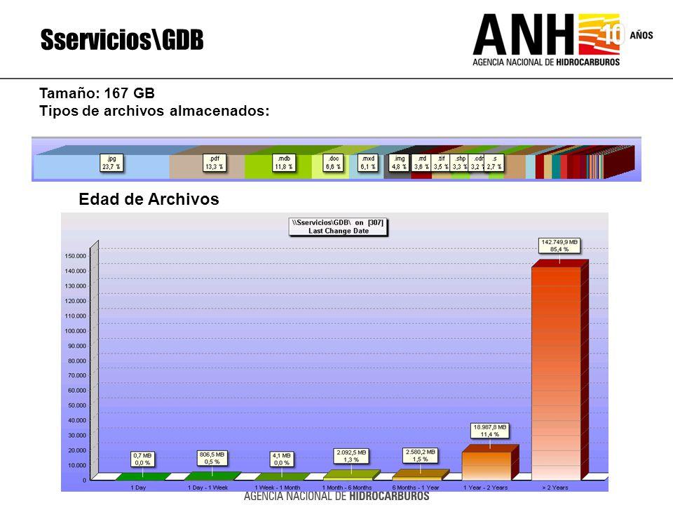Sservicios\GDB Edad de Archivos Tamaño: 167 GB
