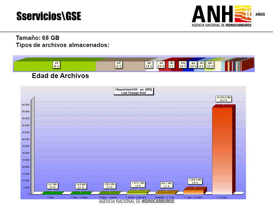 Sservicios\GSE Edad de Archivos Tamaño: 68 GB