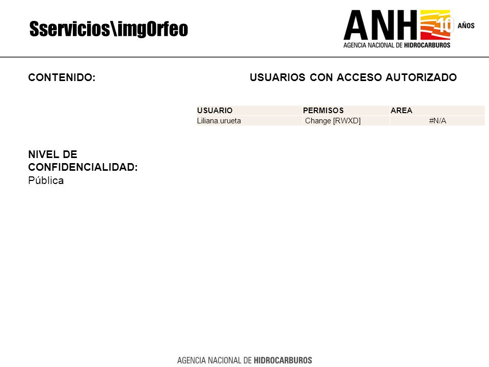 Sservicios\imgOrfeo CONTENIDO: USUARIOS CON ACCESO AUTORIZADO NIVEL DE